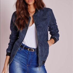 Misguided Denim Bomber Jacket XS/0